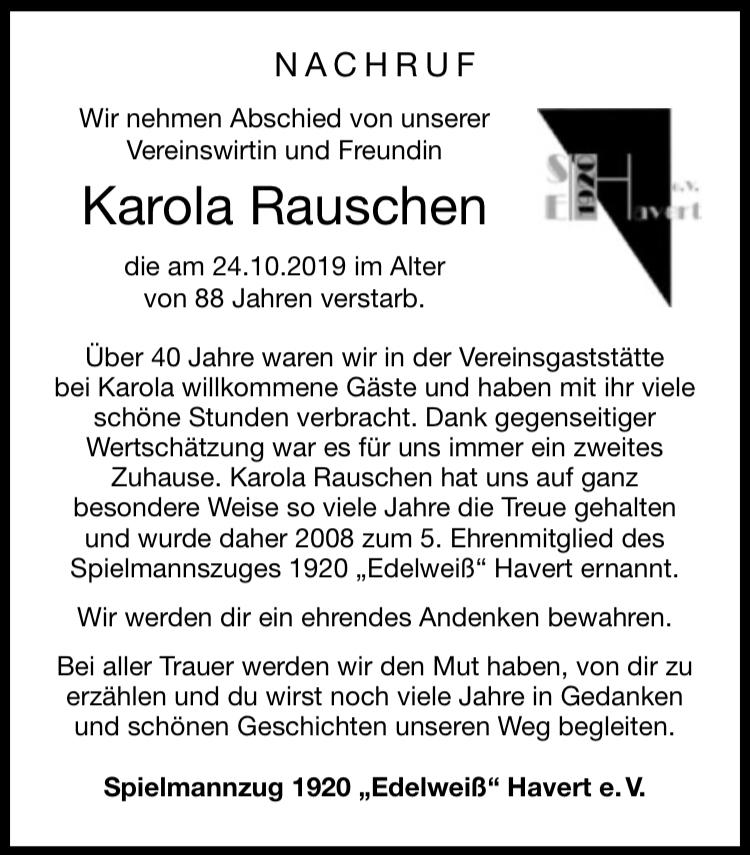 Nachruf Karola Rauschen